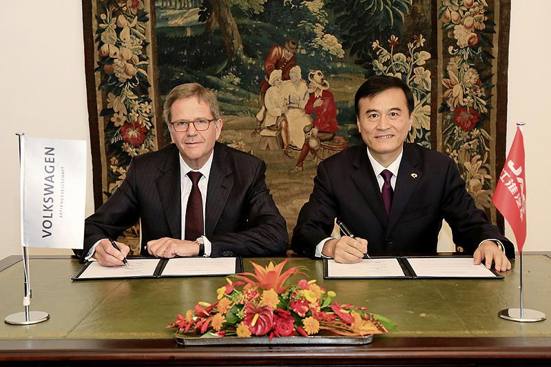 根固中國 福斯《Volkswagen》與安徽江淮汽車簽訂電動車開發合作備忘錄