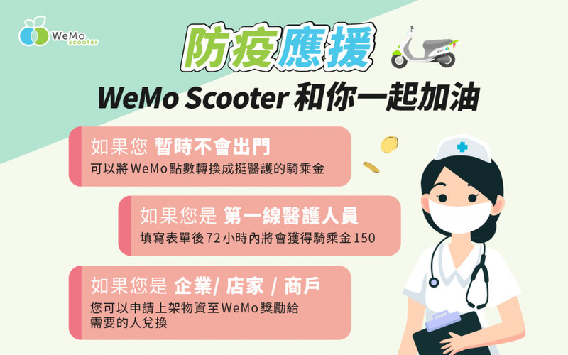 《WeMo》推「安心騎7日方案」 7日騎到飽+專人預約換電+醫護人員免費騎乘金